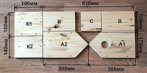 Схема распиловки стандартного скворечника с размерами