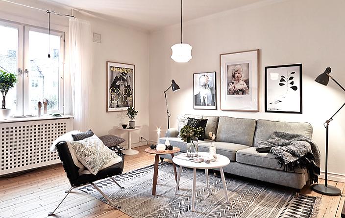 Гостиная со стенами покрашенными тёплым белым цветом