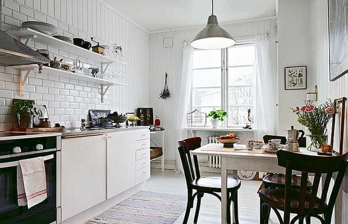 белый кирпич в интерьере скандинавского дизайна