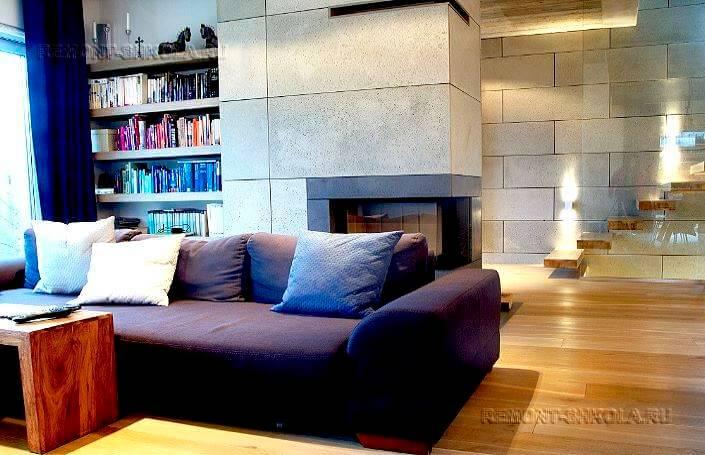 гостиная с отделкой панелями