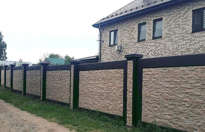 Бетонный забор под натуральный камень