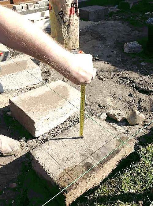 Измерение уровня установки фундаментных блоков.