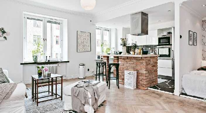 Одна комната в скандинавском дизайне