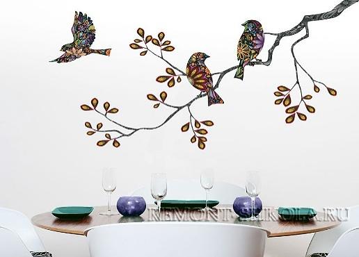 Наклейка три птицы и ветка