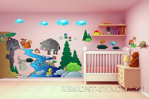 Наклейка животные у реки для детской комнаты