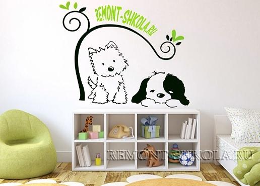 Детская наклейка кот и собака