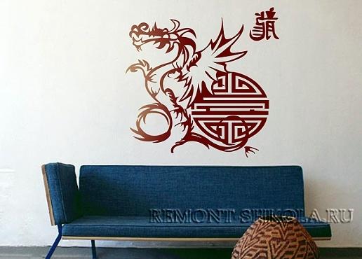 Наклейка красный дракон