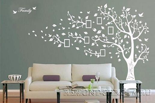 Наклейка белое дерево с рамками для фотографий