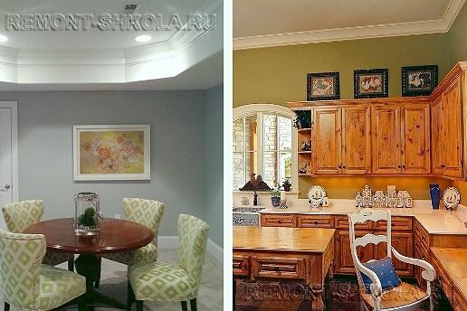 Краска на стенах в гостиной и кухне