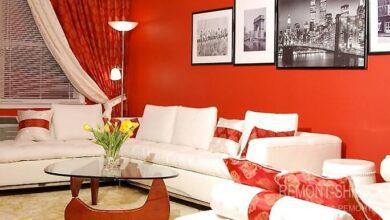 Фото Выбираем цвет стен в гостиной. Белый или красный?