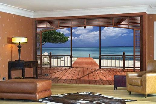 Панорамные обои с выходом на пляж