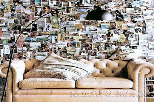Стена покрытая открытками