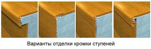 Варианты отделки кромки ступеней