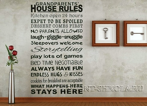 Наклейка Правила дома
