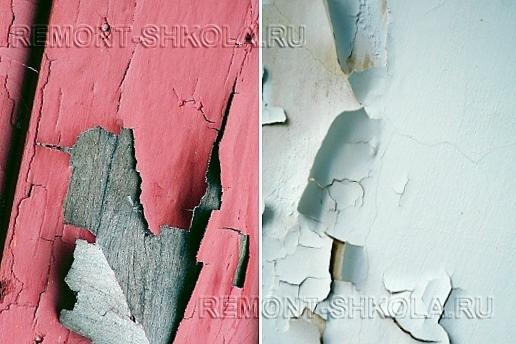 Отслоившаяся краска на деревянной и оштукатуренной поверхности