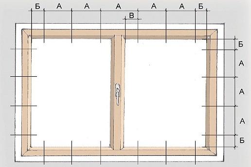 Схема крепления оконного блока.