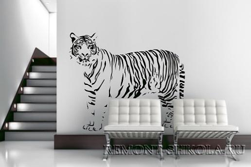 Наклейка чёрный тигр