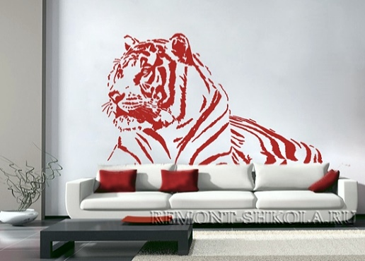 Наклейка красный тигр