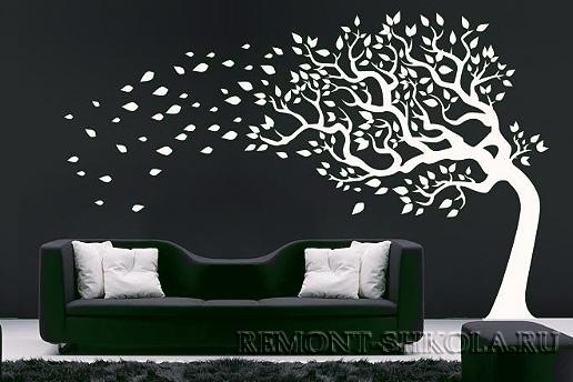 Наклейка белое дерево на ветру
