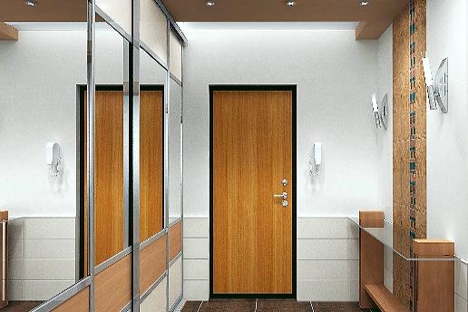 Зеркальный шкаф в узком коридоре позволяет увеличить пространство