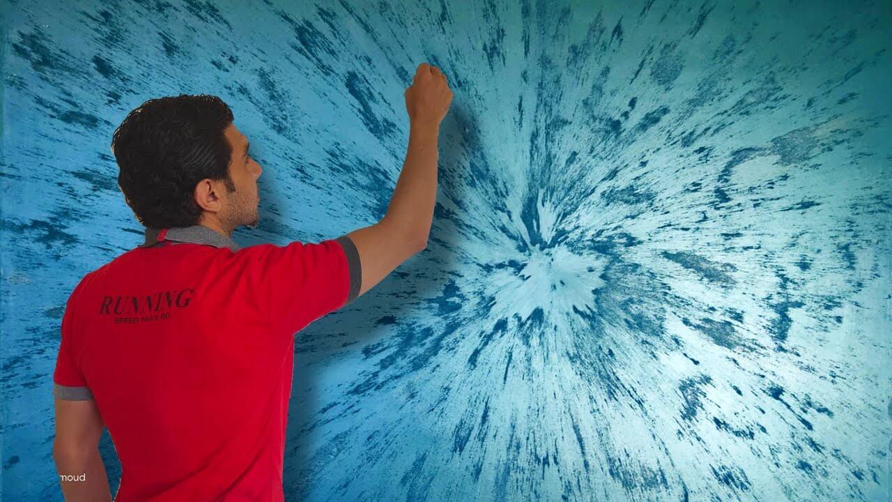 Декор стен в синих тонах