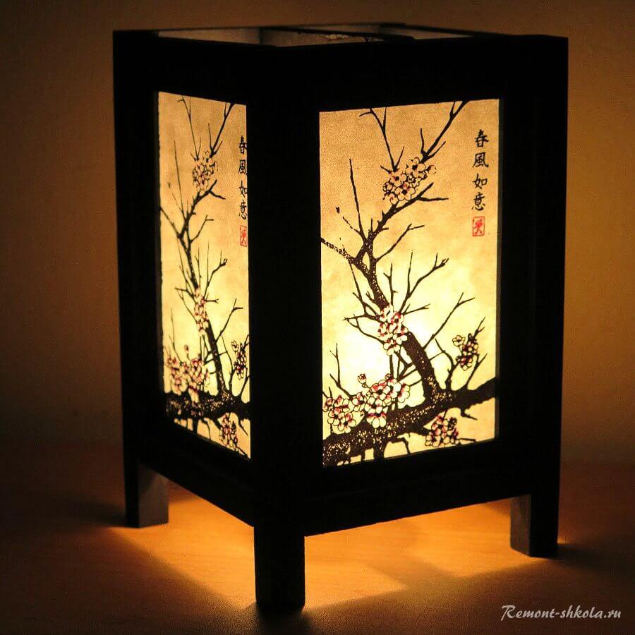 Антикварный японский фонарь с росписью