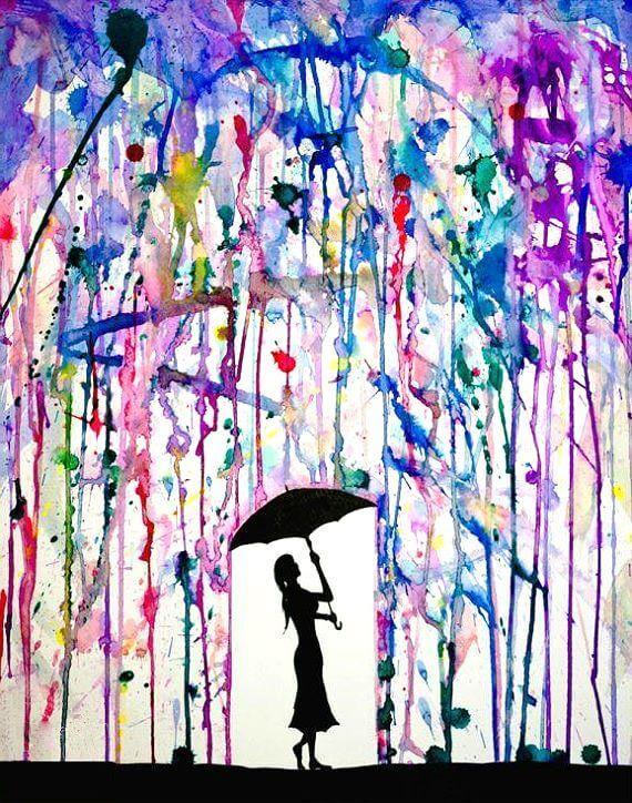 Брызги краски девушка под зонтом