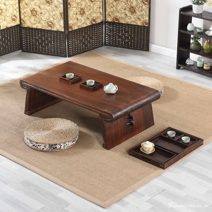 Chabudai - чайный столик из дерева черного ореха