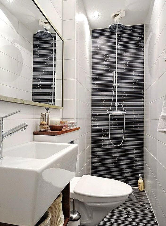 Маленькая ванная белое с чёрным