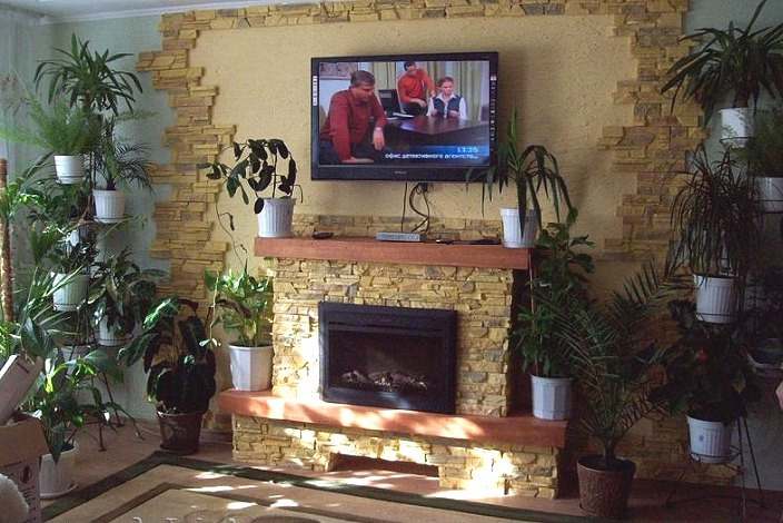 Электрокамин с телевизором на стене