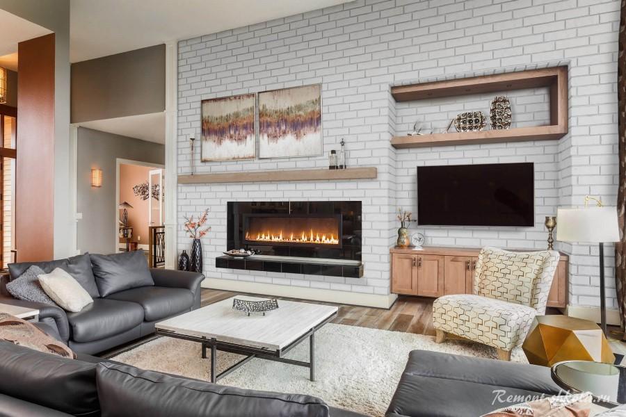 Brick Gypsum Tile в гостиной с камином