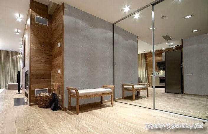 Интерьер из дерева фото в сочетании с бетоном и зеркалом