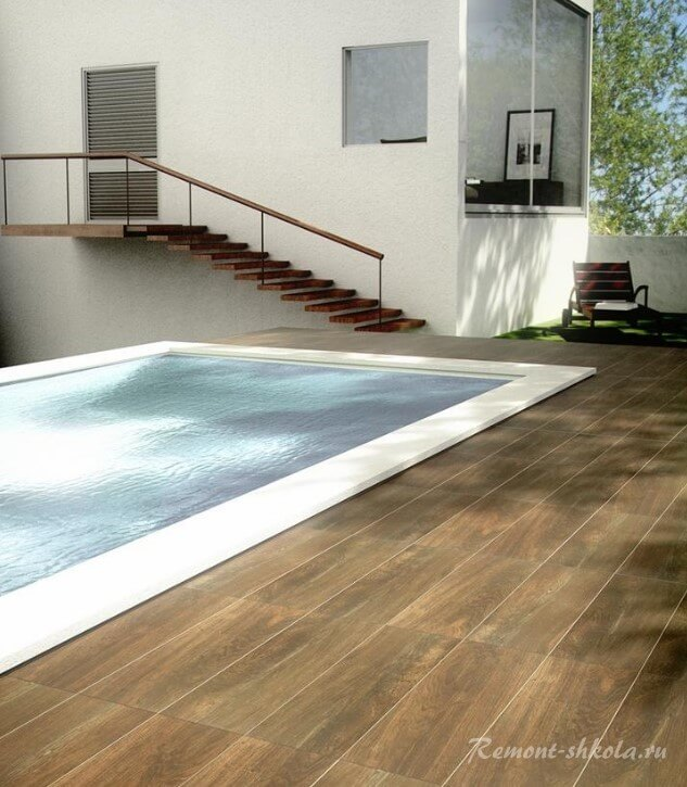 Керамическая плитка вокруг бассейна