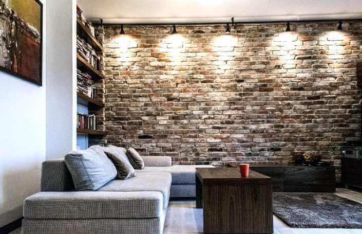 кирпичная плитка в гостиной