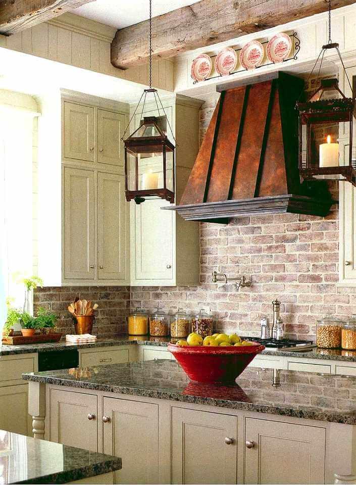 клинкерный кирпич в интерьере кухни