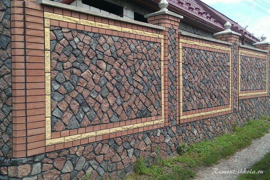 красивый каменный забор с рисунком