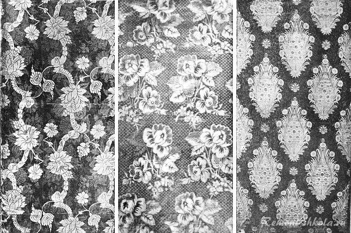 Образцы узоров дамасской ткани