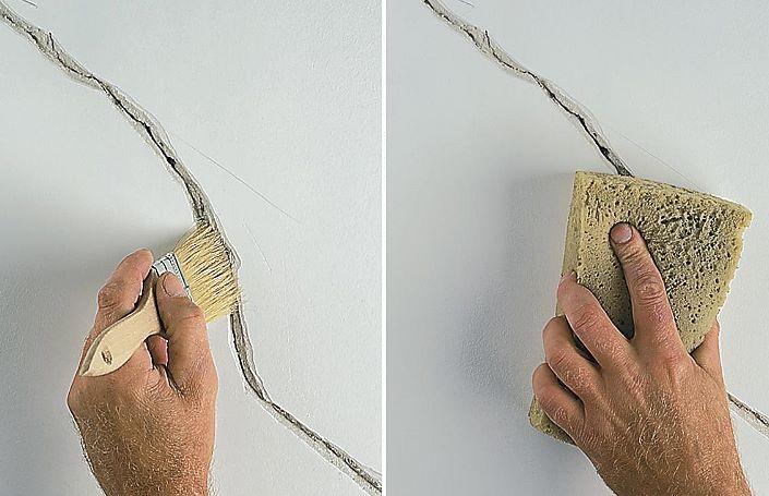 очистка трещин и нанесение грунтовки