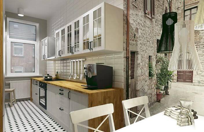кухня с однорядной конфигурацией и обеденным столом