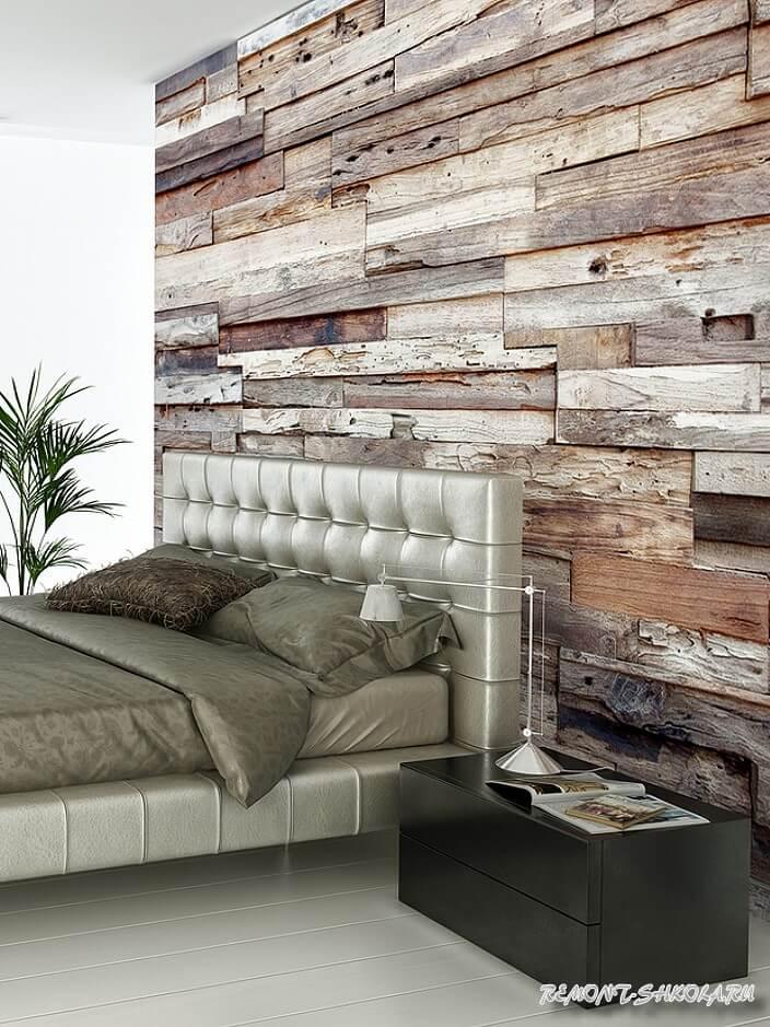 Отделка стен деревом в интерьере спальни фото