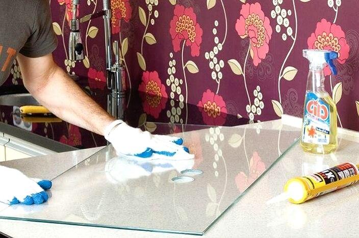 Подготовка стекла для фартука