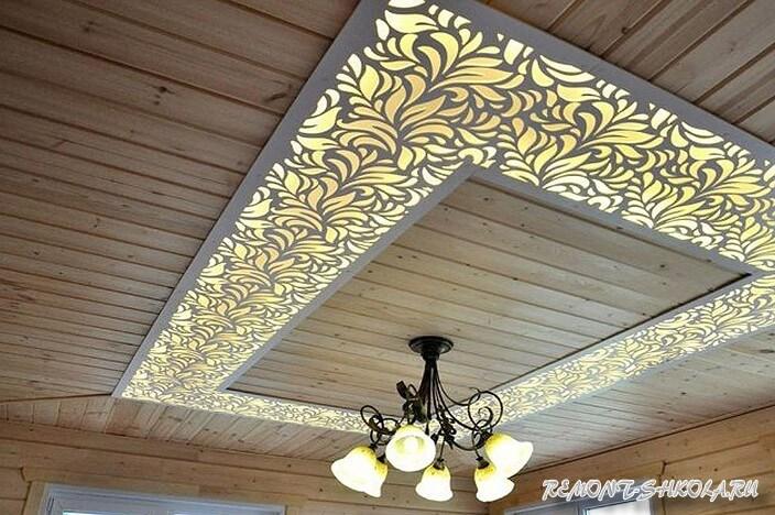 Потолок с резными панелями
