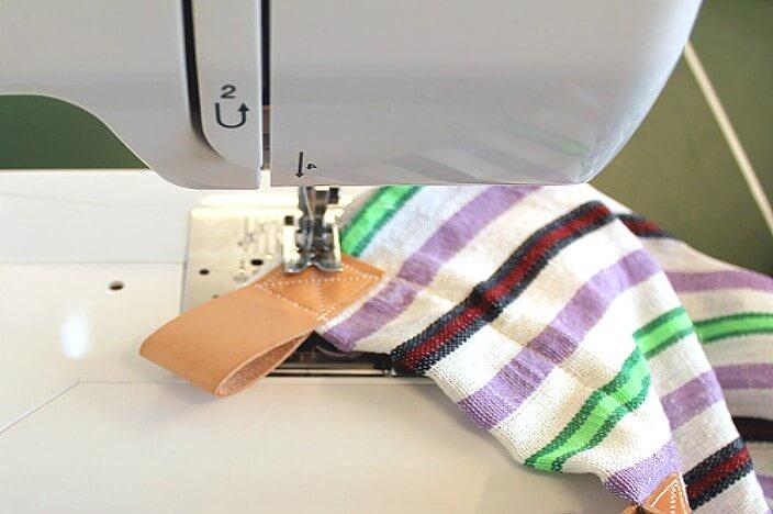 Пришивание петель к гамаку