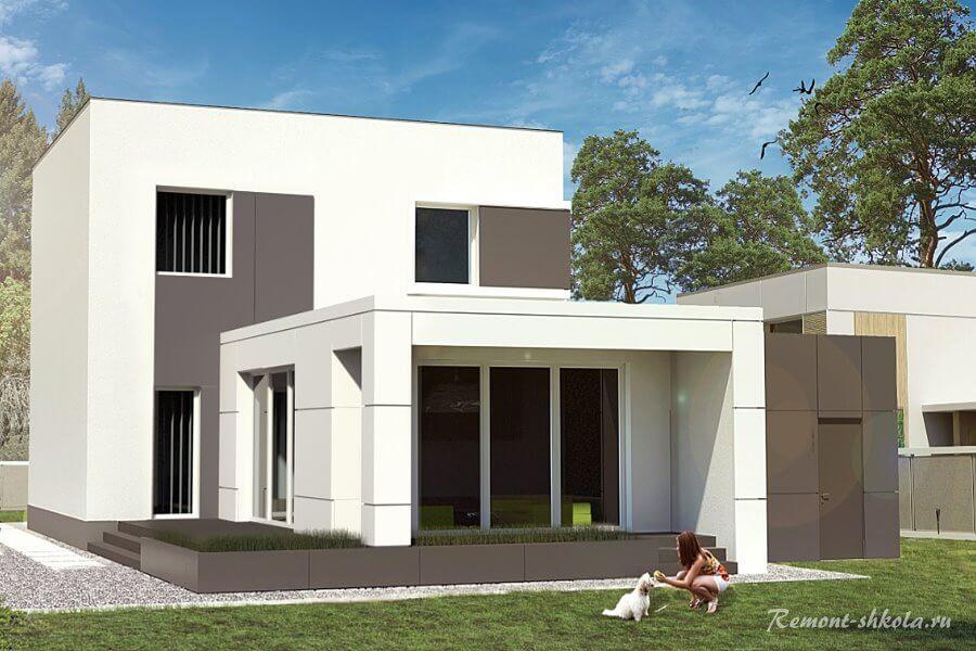 Проект дома вид со стороны сада