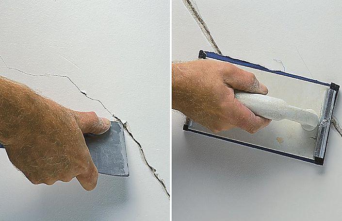 расширение трещины штукатурки стен