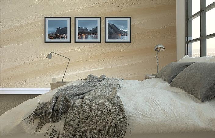 штукатурка в интерьере спальни