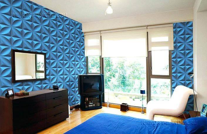 3d панели в интерьере синей с белым спальни