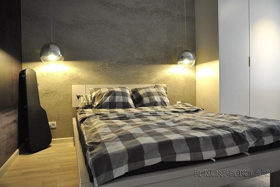 Спальня в архитектурном бетоне