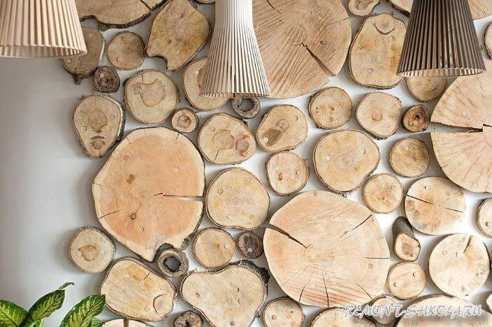 Спилы дерева в интерьере фото
