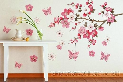 Декоративная наклейка на стену Ветка сакуры.